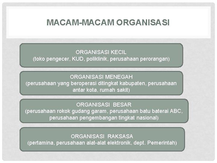 MACAM-MACAM ORGANISASI KECIL (toko pengecer, KUD, poliklinik, perusahaan perorangan) ORGANISASI MENEGAH (perusahaan yang beroperasi