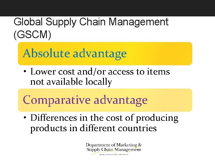 Global Supply Chain Management (GSCM) Absolute advantage • Lower cost and/or access to items
