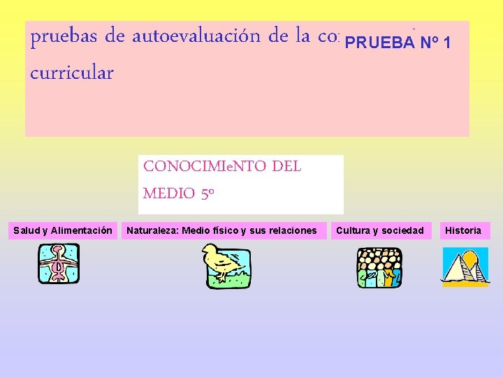 pruebas de autoevaluación de la competencia PRUEBA Nº 1 curricular CONOCIMIe. NTO DEL MEDIO