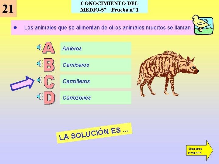 CONOCIMIENTO DEL MEDIO-5º Prueba nº 1 21 l Los animales que se alimentan de