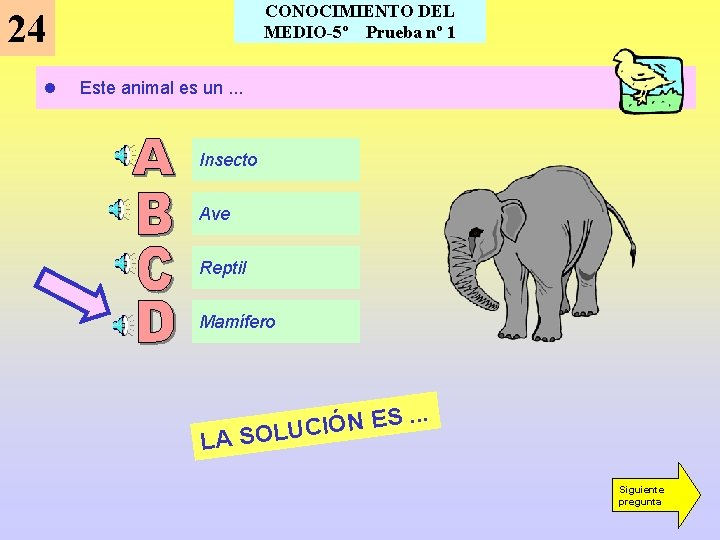 CONOCIMIENTO DEL MEDIO-5º Prueba nº 1 24 l Este animal es un. . .