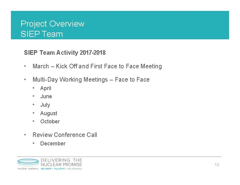 Project Overview SIEP Team Activity 2017 -2018 • March – Kick Off and First