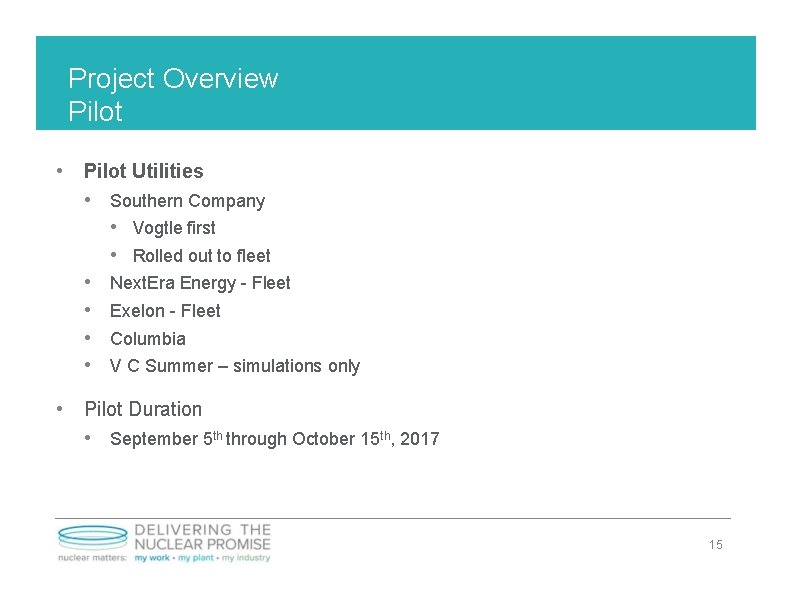 Project Overview Pilot • Pilot Utilities • Southern Company • Vogtle first • Rolled