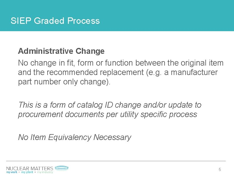 SIEP Graded Process Administrative Change No change in fit, form or function between the