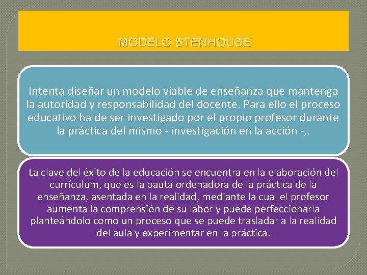 MODELO STENHOUSE Intenta diseñar un modelo viable de enseñanza que mantenga la autoridad y