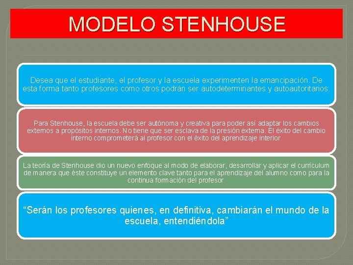 MODELO STENHOUSE Desea que el estudiante, el profesor y la escuela experimenten la emancipación.