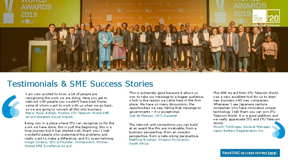 Testimonials & SME Success Stories I am very excited to know a lot of