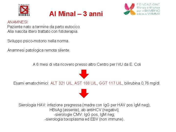 Al Minal – 3 anni ANAMNESI: Paziente nato a termine da parto eutocico. Alla