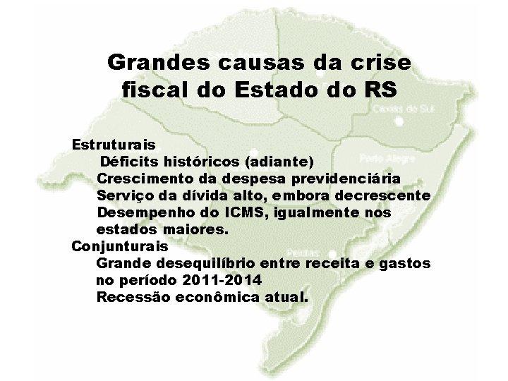 Grandes causas da crise fiscal do Estado do RS Estruturais Déficits históricos (adiante) Crescimento