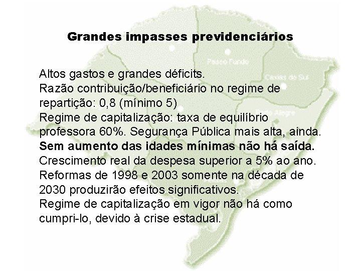 Grandes impasses previdenciários Altos gastos e grandes déficits. Razão contribuição/beneficiário no regime de repartição: