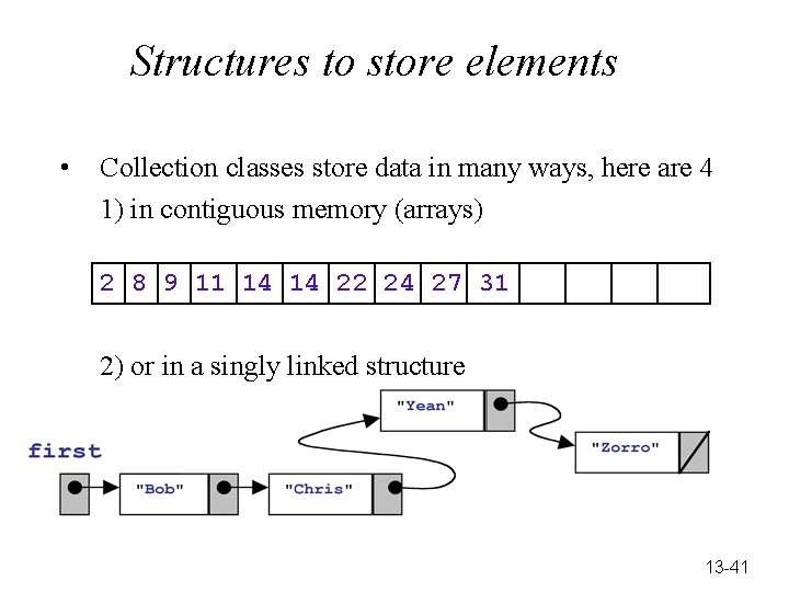 Structures to store elements • Collection classes store data in many ways, here are