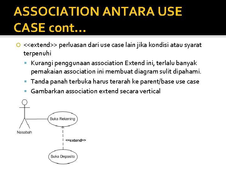 ASSOCIATION ANTARA USE CASE cont. . . <<extend>> perluasan dari use case lain jika