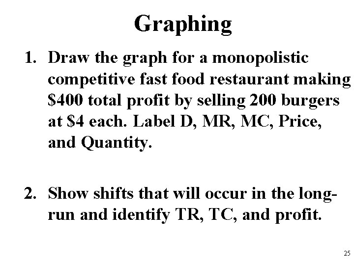 Graphing 1. Draw the graph for a monopolistic competitive fast food restaurant making $400
