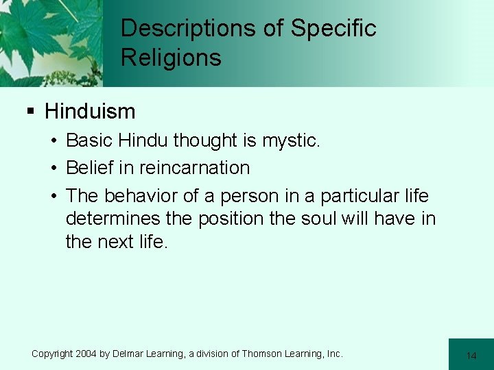 Descriptions of Specific Religions § Hinduism • Basic Hindu thought is mystic. • Belief