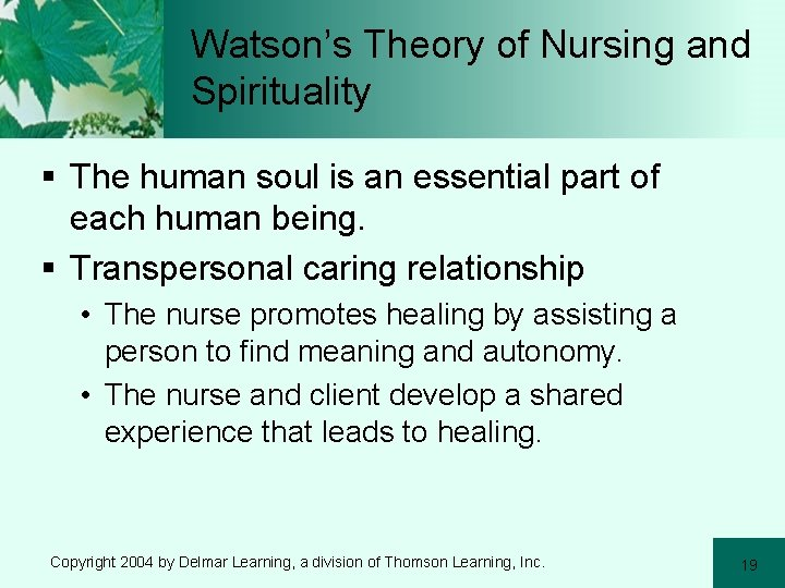 Watson's Theory of Nursing and Spirituality § The human soul is an essential part