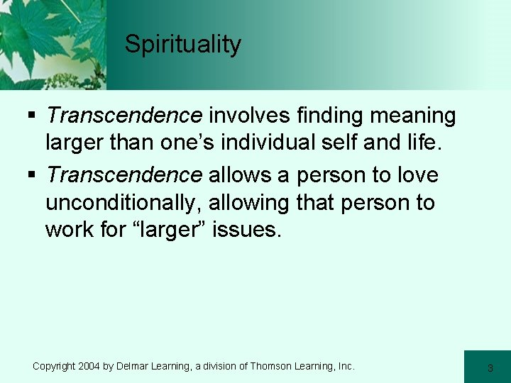 Spirituality § Transcendence involves finding meaning larger than one's individual self and life. §