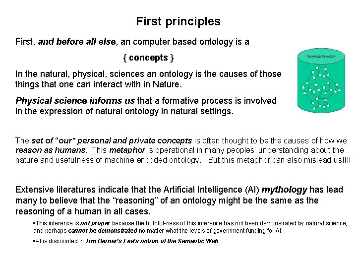 First principles First, and before all else, an computer based ontology is a {