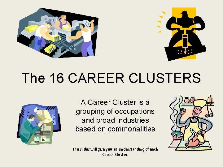 The 16 CAREER CLUSTERS A Career Cluster is a grouping of occupations and broad