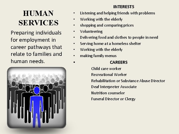 HUMAN SERVICES Preparing individuals for employment in career pathways that relate to families and