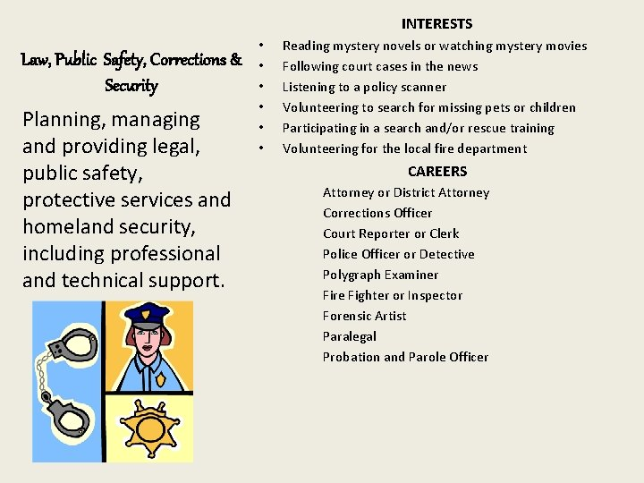 INTERESTS Law, Public Safety, Corrections & Security Planning, managing and providing legal, public safety,