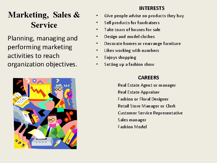 Marketing, Sales & Service Planning, managing and performing marketing activities to reach organization objectives.