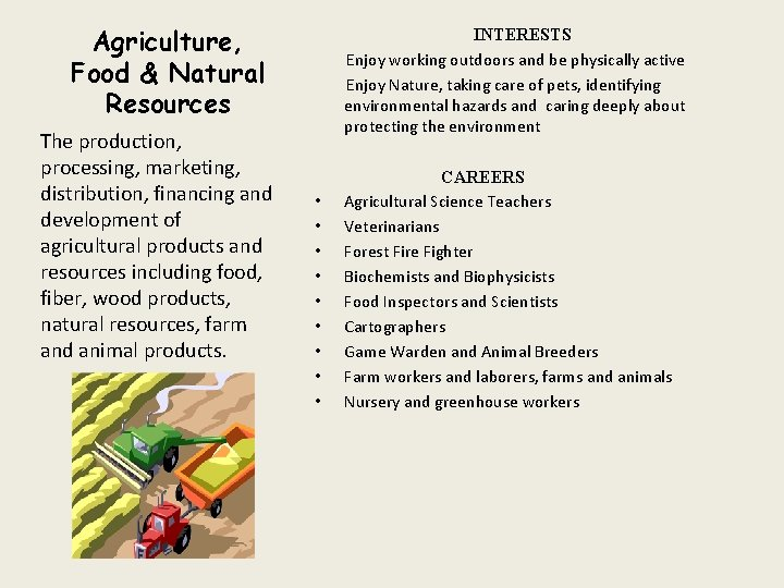 Agriculture, Food & Natural Resources The production, processing, marketing, distribution, financing and development of