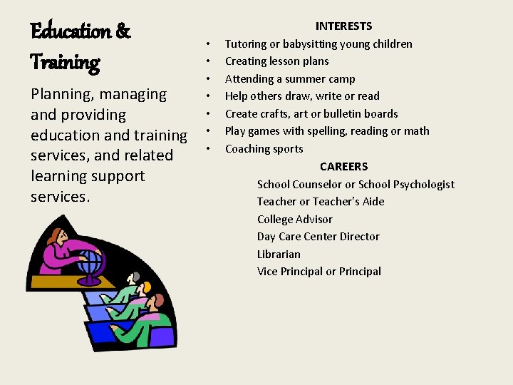 Education & Training Planning, managing and providing education and training services, and related learning