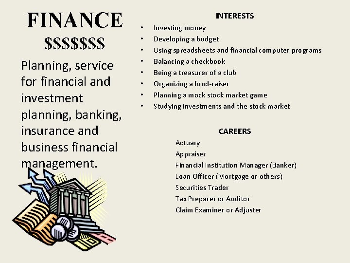 FINANCE $$$$$$$ Planning, service for financial and investment planning, banking, insurance and business financial