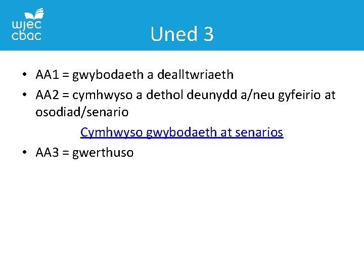 Uned 3 • AA 1 = gwybodaeth a dealltwriaeth • AA 2 = cymhwyso