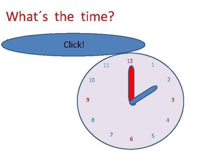 What´s the time? It´s two o´clock. Click! 12 11 1 2 10 9 3