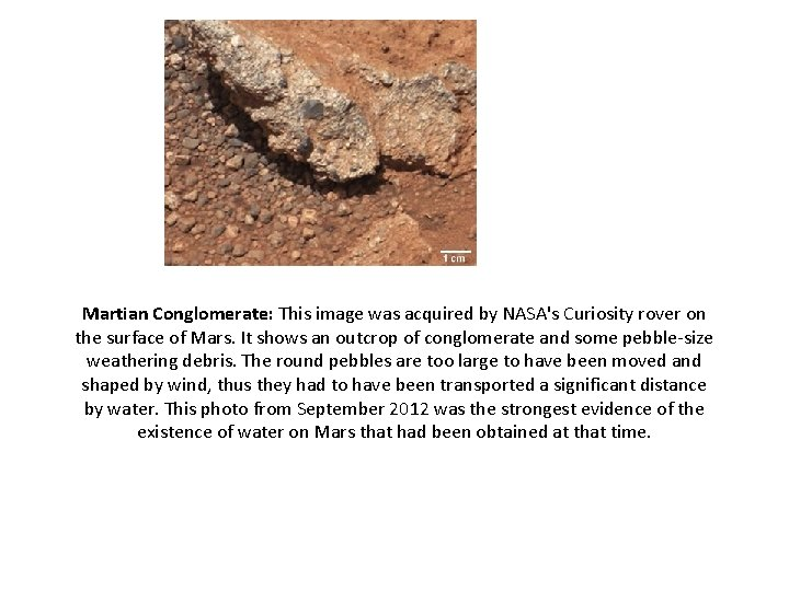 Martian Conglomerate: This image was acquired by NASA's Curiosity rover on the surface of