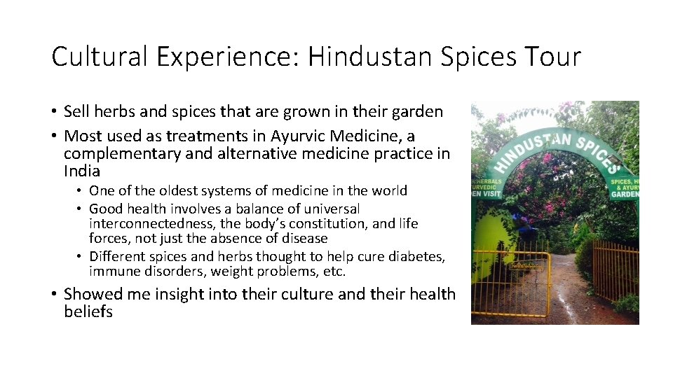Cultural Experience: Hindustan Spices Tour • Sell herbs and spices that are grown in