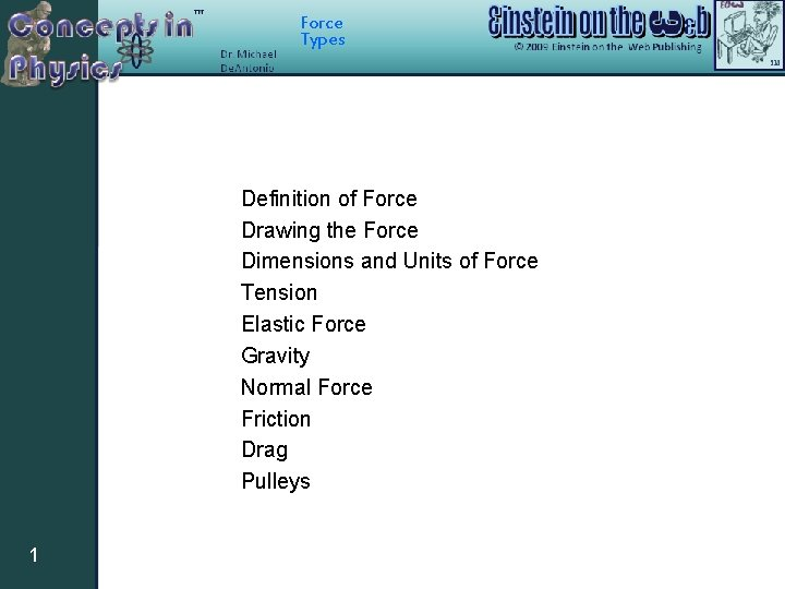 Force Types Definition of Force Drawing the Force Dimensions and Units of Force Tension