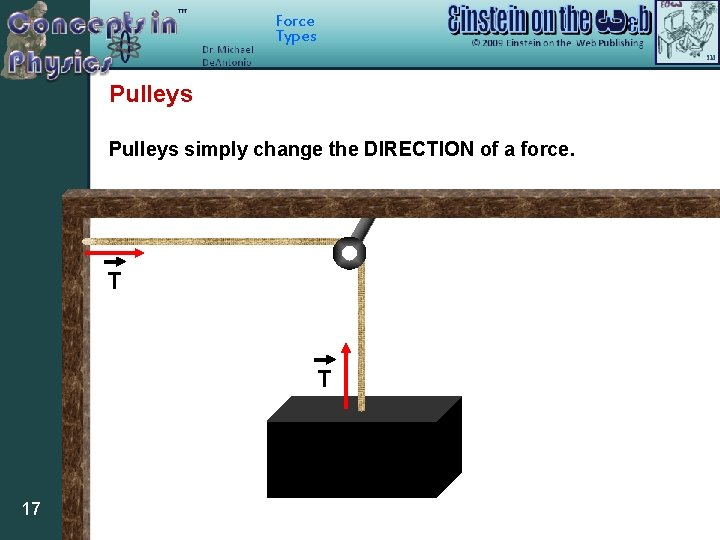 Force Types Pulleys simply change the DIRECTION of a force. T T 17