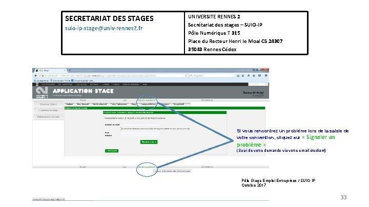 SECRETARIAT DES STAGES suio-ip-stage@univ-rennes 2. fr UNIVERSITE RENNES 2 Secrétariat des stages – SUIO-IP