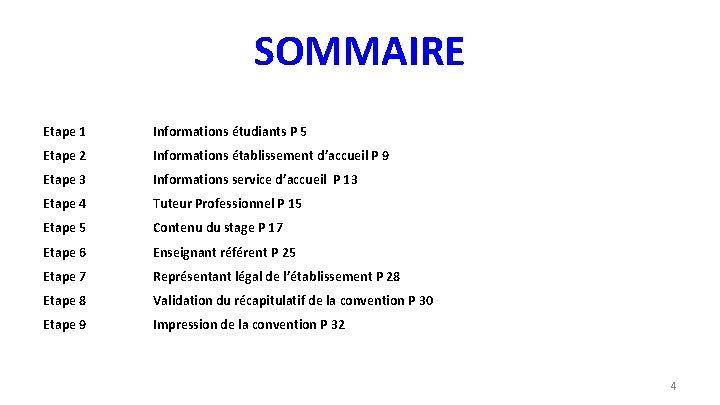 SOMMAIRE Etape 1 Informations étudiants P 5 Etape 2 Informations établissement d'accueil P 9