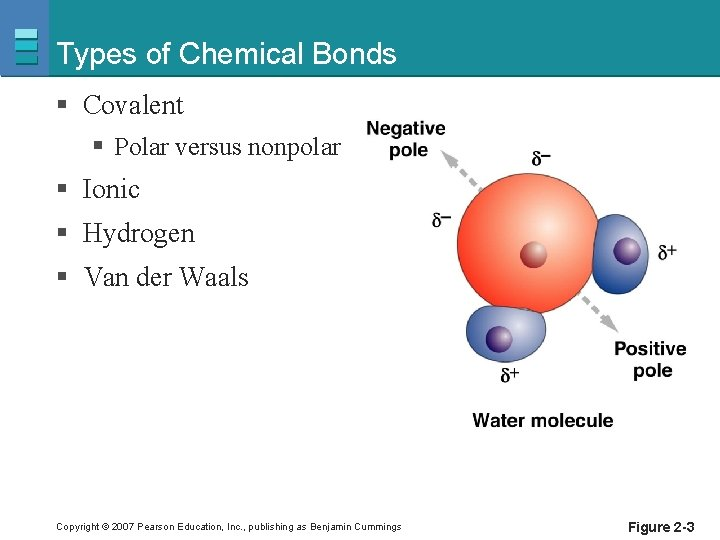 Types of Chemical Bonds § Covalent § Polar versus nonpolar § Ionic § Hydrogen