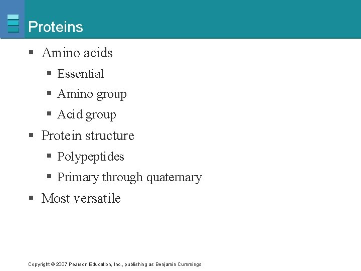 Proteins § Amino acids § Essential § Amino group § Acid group § Protein