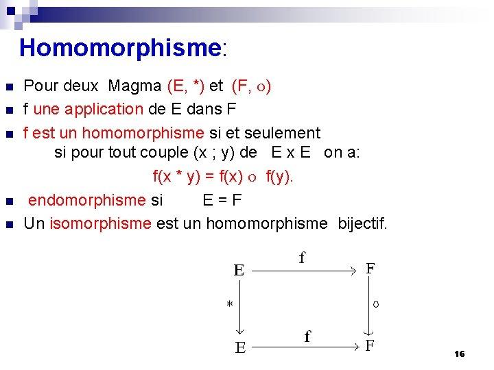 Homomorphisme: n n n Pour deux Magma (E, *) et (F, ) f une