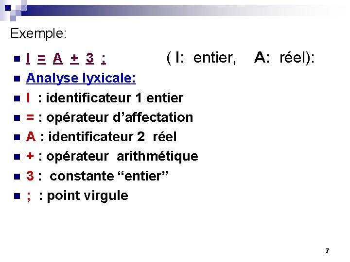 Exemple: n n n n I = A + 3 ; ( I: entier,
