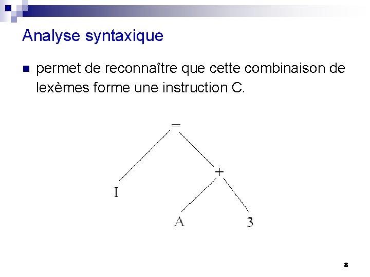 Analyse syntaxique n permet de reconnaître que cette combinaison de lexèmes forme une instruction