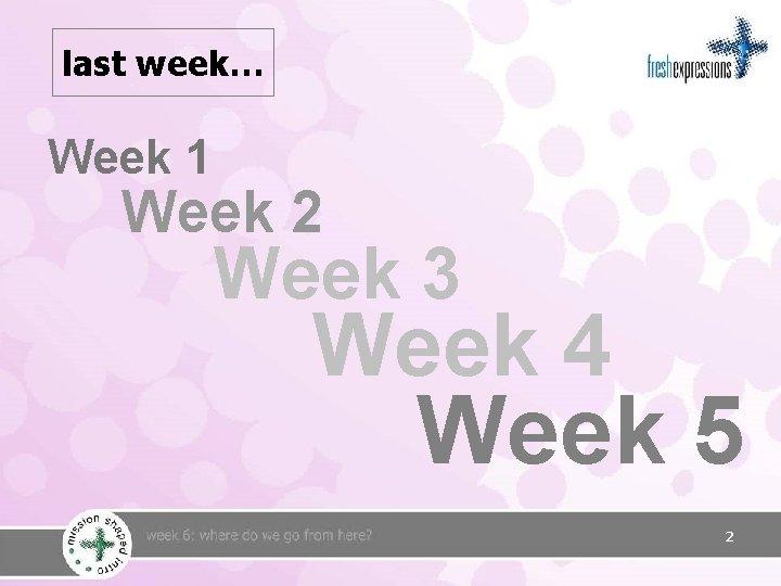 last week… Week 1 Week 2 Week 3 Week 4 Week 5 2