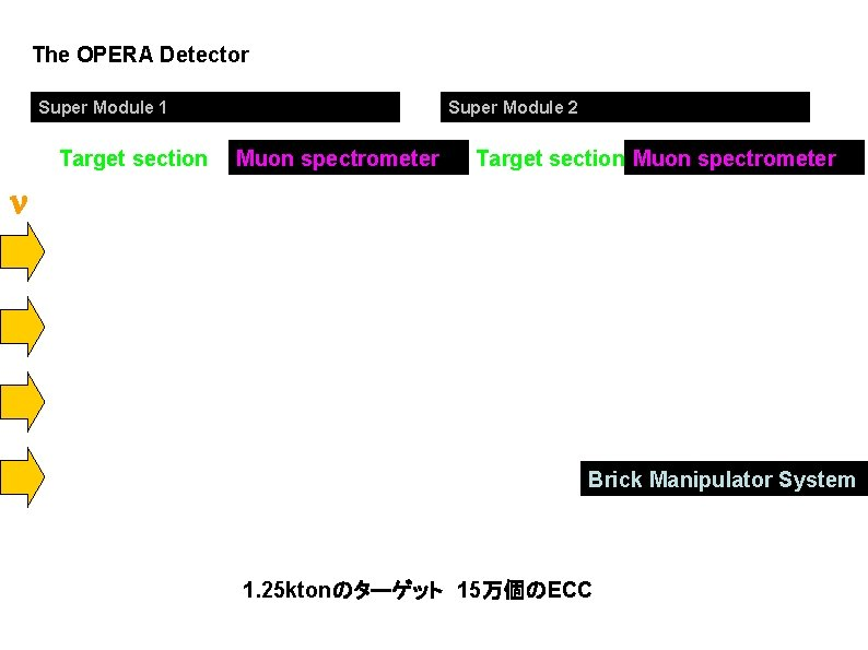The OPERA Detector Super Module 1 Target section Super Module 2 Muon spectrometer Target