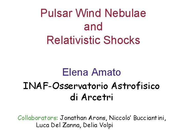 Pulsar Wind Nebulae and Relativistic Shocks Elena Amato INAF-Osservatorio Astrofisico di Arcetri Collaborators: Jonathan