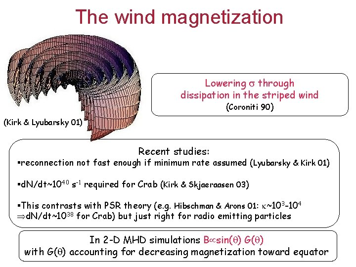 The wind magnetization Lowering through dissipation in the striped wind (Coroniti 90) (Kirk &