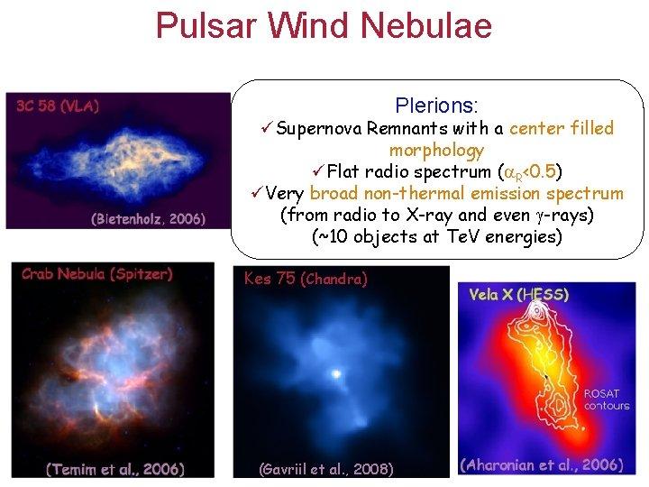 Pulsar Wind Nebulae Plerions: üSupernova Remnants with a center filled morphology üFlat radio spectrum