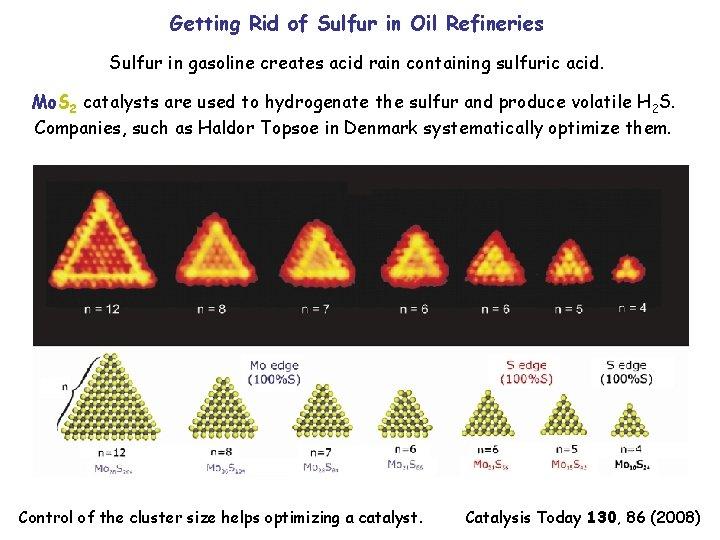 Getting Rid of Sulfur in Oil Refineries Sulfur in gasoline creates acid rain containing