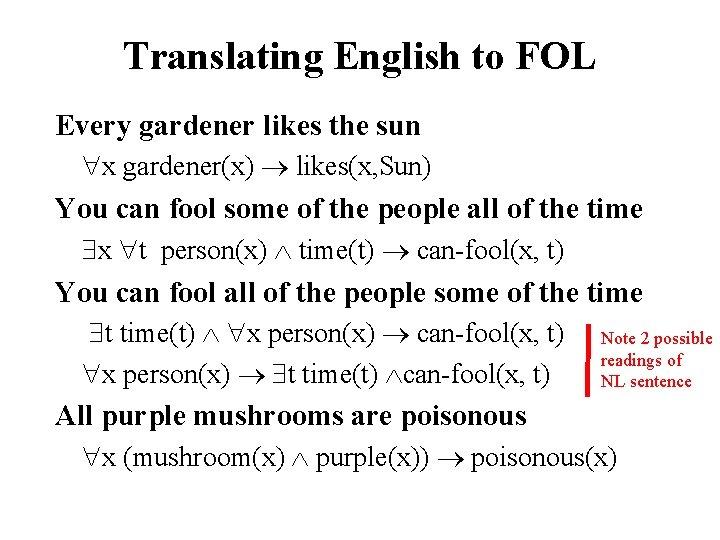 Translating English to FOL Every gardener likes the sun x gardener(x) likes(x, Sun) You