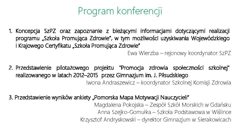 Program konferencji 1. Koncepcja Sz. PZ oraz zapoznanie z bieżącymi informacjami dotyczącymi realizacji programu
