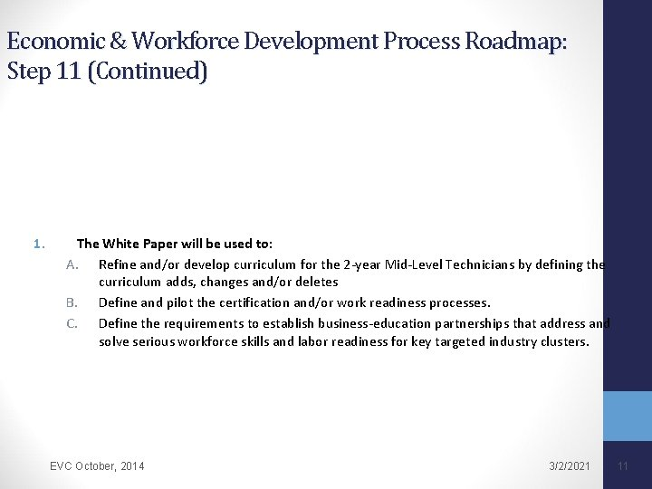 Economic & Workforce Development Process Roadmap: Step 11 (Continued) 1. The White Paper will